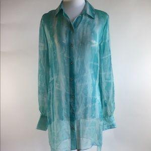 Ann Taylor Blue 100% silk long sleeves blouse szXS